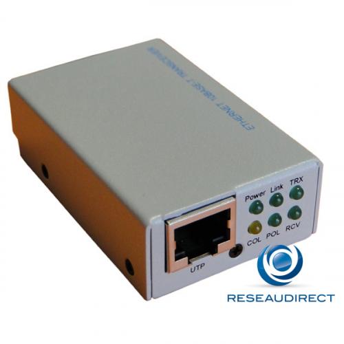 Netkea NTK-AUI-Rj45 Micro-transceiver Ethernet 10Mbs AUI-15 points 10baseT RJ45 Boitier métal 6LEDS contrôle Sqe Pack de 10