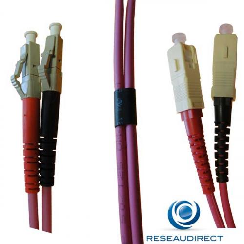 Netkea  NTK54LC.SC.001 Jarretière OM4 LC-PC / SC-PC Bi-fibre optique Scindex 2.8 mm Multimode 50/125  Lg=01 m