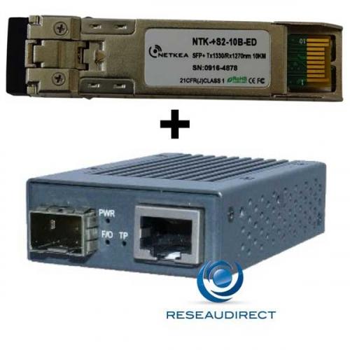 Netkea NTK-CSFP+-RJ+-LR10B Convertisseur RJ45 10M/100M/1G/2.5G/5G/10G 10Gbase-T vers SFP+ 10G-LR-Bidi 10KM Côté B