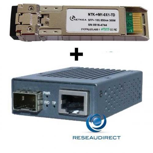 Netkea NTK-CSFP+-RJ+-SR Mini-Convertisseur compact 10Giga RJ45 10M/100M/1G/2.5G/5G/10G 10Gbase-T vers SFP+ 10GBase-SR 300m