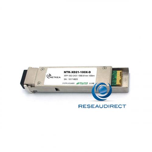 Netkea NTK-XD30-100X-D XFP DWDM Canal 30 10Gb/s Mono-mode Fréquence 193.0Thz 1553.33nm 28dB 100km 2xLC DDMI 0/+70°C