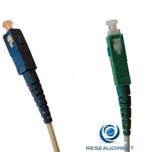 Free NTK09SSCASCU003 FTTH jarretière optique standard Mono-fibre 9/125 OS2 Blanche G657a SC/APC- SC/UPC Lg=03m