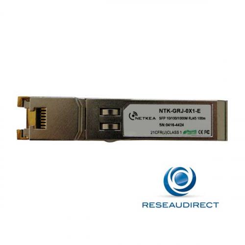 Netkea NTS-GM0-0X1-ED Transceiver SFP RJ45 cuivre 1000 Mbs compatible Cisco GLC-T 100m  -40 +85°C