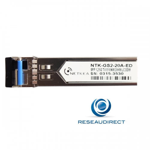 Netkea ALL-GS2-20A-ED SFP BIDI Allied Telesis AT-SPBD20-13-EQ Compatible 1000Mbs Monomode Tx1310nm Rx1550 20km 1xLC DOM -40/+85°C