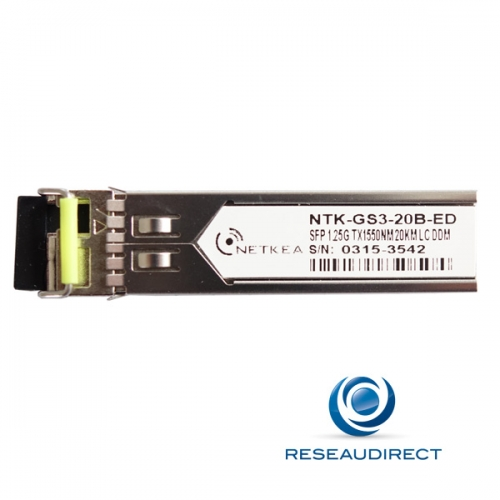 Netkea ALL-GS3-20B-ED SFP BIDI Allied Telesis AT-SPBD20-15-EQ Compatible 1000Mbs Monomode Rx1310nm Tx1550 20km 1xLC DOM -40/+85°C