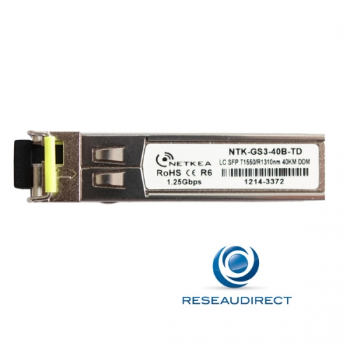 Netkea ALL-GS3-40B-TD SFP BIDI Allied Telesis AT-SPBD40-15-EQ Compatible 1000Mbs Monomode Rx1310nm Tx1550 40km 1xLC DOM -40/+85°C