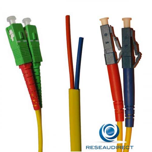 Netkea NTK09SCALC.001S Jarretière OS2 SC-APC / LC-PC Bi-fibre optique Scindex 2.8 mm Monomode 9/125  Lg=01 m Surgainée