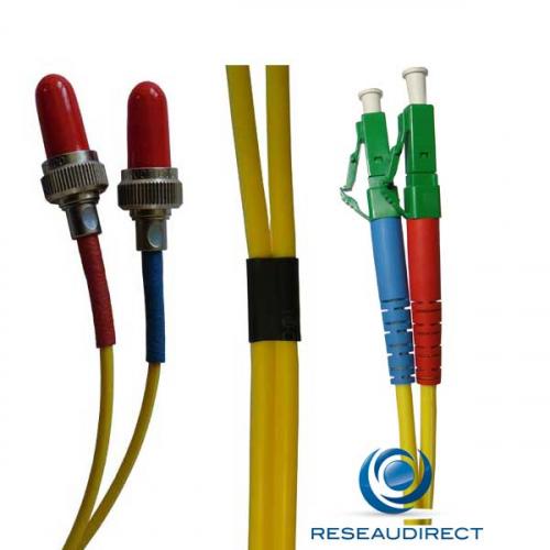 Netkea NTK09VFRLCA002 Jarretière fibre optique Bi-Fibre Scindex Monomode 9/125 Radiall VFO FR LC APC Longueur = 02 mètres