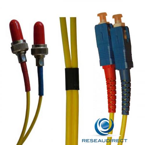Juillet 2018 Netkea NTK09VFRSC.002 Jarretière fibre optique Bi-Fibre Scindex Monomode 9/125 Radiall VFO FR SC PC Longueur = 02 mètres