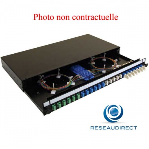 """Netkea NTKTMU12LC.DX Tiroir optique coulissant 19"""" 1U pour 12 Fibres LC avec 6 traversées LC/LC duplex multimodes Fem/Fem"""