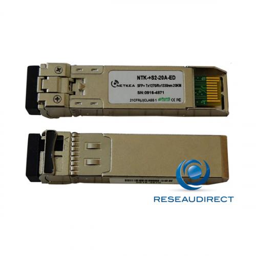 Netkea NTK-+S2-20A-ED transceiver SFP+ BIDI 10GBase-BXU 10Gb/s Monomode Côté A émission 1270nm 20km 1xLC DOM -40/+85°C