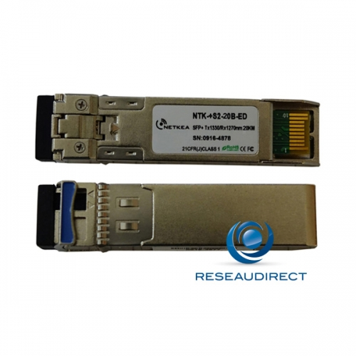 Netkea NTK-+S2-20B-ED transceiver SFP+ BIDI 10GBase-BXD 10Gb/s Monomode Côté B émission 1330nm 20km 1xLC DOM -40/+85°C