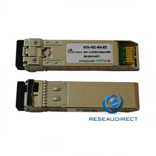 Netkea NTK-+S2-40A-ED transceiver SFP+ BIDI 10GBase-BXU 10Gb/s Monomode Côté A émission 1270nm 40km 1xLC DOM -40/+85°C