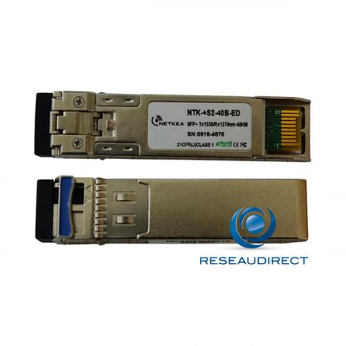 Netkea NTK-+S2-40B-ED transceiver SFP+ BIDI 10GBase-BXD 10Gb/s Monomode Côté B émission 1330nm 40km 1xLC DOM -40/+85°C