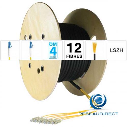 Netkea NTKT12LC.LC.54BO020 trunk préconnectorisé câble 12 fibres vrai Breakout 2mm multimode 50/125 OM4 LC / LC lg 20 m