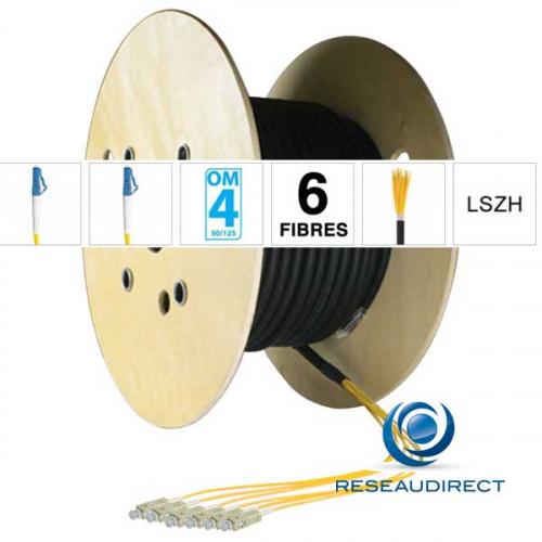 Netkea NTKT06LC.LC.54BO020 trunk préconnectorisé câble 6 fibres vrai Breakout 2mm multimode 50/125 OM4 LC / LC lg 20 m