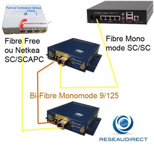 Netkea NTK-CGS2-S3-LX kit de déport Freebox sur 20 km sur bi-fibre optique Monomode 9/125