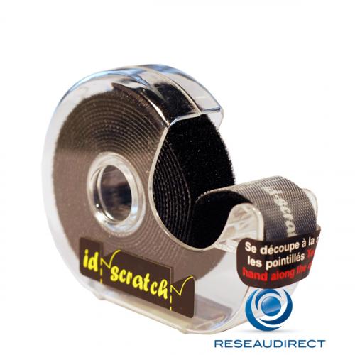 Patchsee ID-SCRATCH IDS-DB-BOX-2,5 Attache-câbles auto-agrippant Type Velcro Prédécoupé dévidoir Noir lg=2.5m