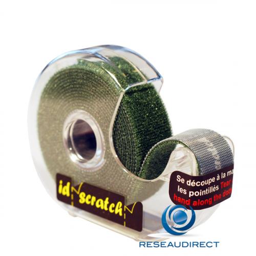Patchsee ID-SCRATCH IDS-DG-BOX-2,5 Attache-câbles auto-agrippant type Velcro Prédécoupé dévidoir Vert Sapin lg=2.5m