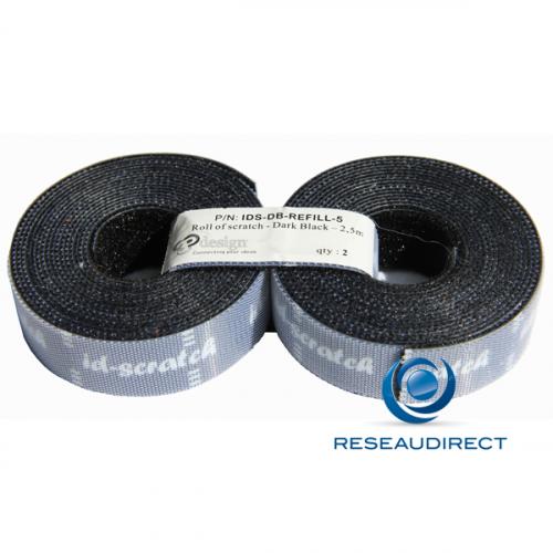 Patchsee ID-SCRATCH IDS-DB-REFILL-2,5 Attache-câbles auto-agrippant Prédécoupé recharge couleur Noir lg=5m