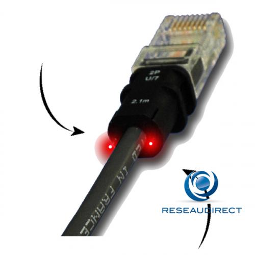Patchsee PTC1000CTU02X1 câble RJ45 Tel UTP 2P-U/7 Cordon repérage lumineux PhonePatch brassage 1paire téléphonique 2.10m