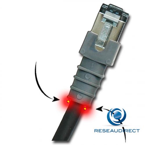 Patchsee PTC3000C6F00X6 câble RJ45 Cat6 FTP 6-F/2 Cordon patch repérage lumineux blindé Class6Patch Catégorie 6 250Mhz 0.60m