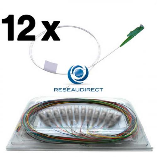 Netkea NTK09E2APGT1x5-12 Pigtails OS2 E2000/APC fibre optique monomode 9/125 900 microns Lg = 1,5 mètre 12 pièces