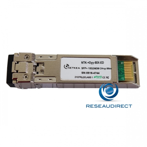 Netkea NTK-+D21-80X-ED SFP+ DWDM Canal 21 10Gb/s Mono-mode Fréquence 192.1Thz 1560,61nm 24dB 80km 2xLC DDMI -40/+85°C