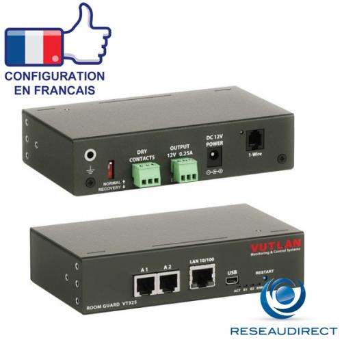 Vutlan VT325 Mini Boitier monitoring IP 2 ports capteurs analogiques 2 contacts secs 1 USB 2 alarmes-relais sortants Rj45 100mbs
