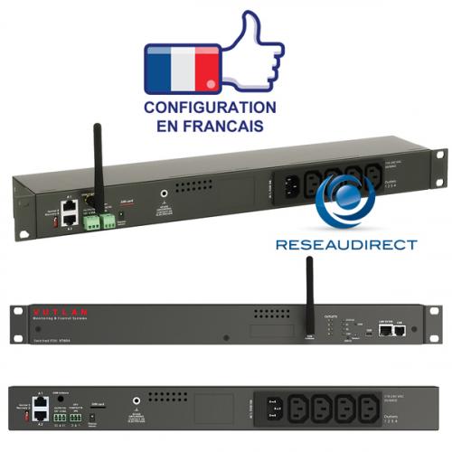 Vutlan VT604 Boitier PDU IP 1 entrée C14 4 sorties C13 Can 2 ports capteurs 2 contacts secs 1 USB 2 relais 12 volts Ethernet