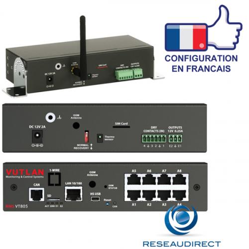 Vutlan VT805 Boitier monitoring IP 1 Can 8 ports capteurs analogiques 4 contacts secs 1 USB 1 SD 2 relais sortants-alarmes Rj45 100mbs