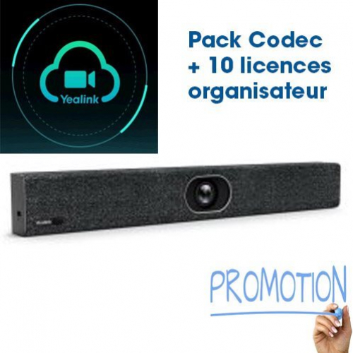 Yealink Meeting Eye 400 Promotion Visio ME400 visio-conféréncier Codec Barre audio vidéo 4K intégreé avec 10 licences Organisateur Cloud offertes