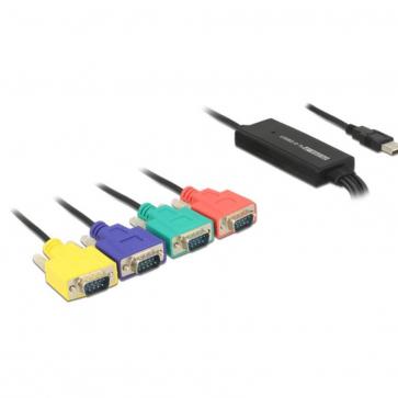 Adaptateur USB 2.0 A - 4x Série RS232 DB9 M