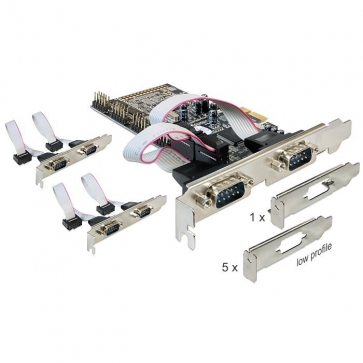 Delock PCIE-6SD Carte PCI Express 6 ports série RS232 Dual Profile