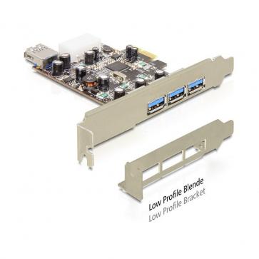 Delock PCIE-U30-3 Carte PCI Express USB 3.0 3+1 ports Dual Profile