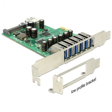 Delock PCIE-U30-5 Carte PCI Express USB 3.0 6+1 ports Dual Profile