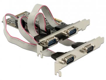 Delock PCIE-4SD Carte PCI Express 4 ports RS232 DB9 dua profil